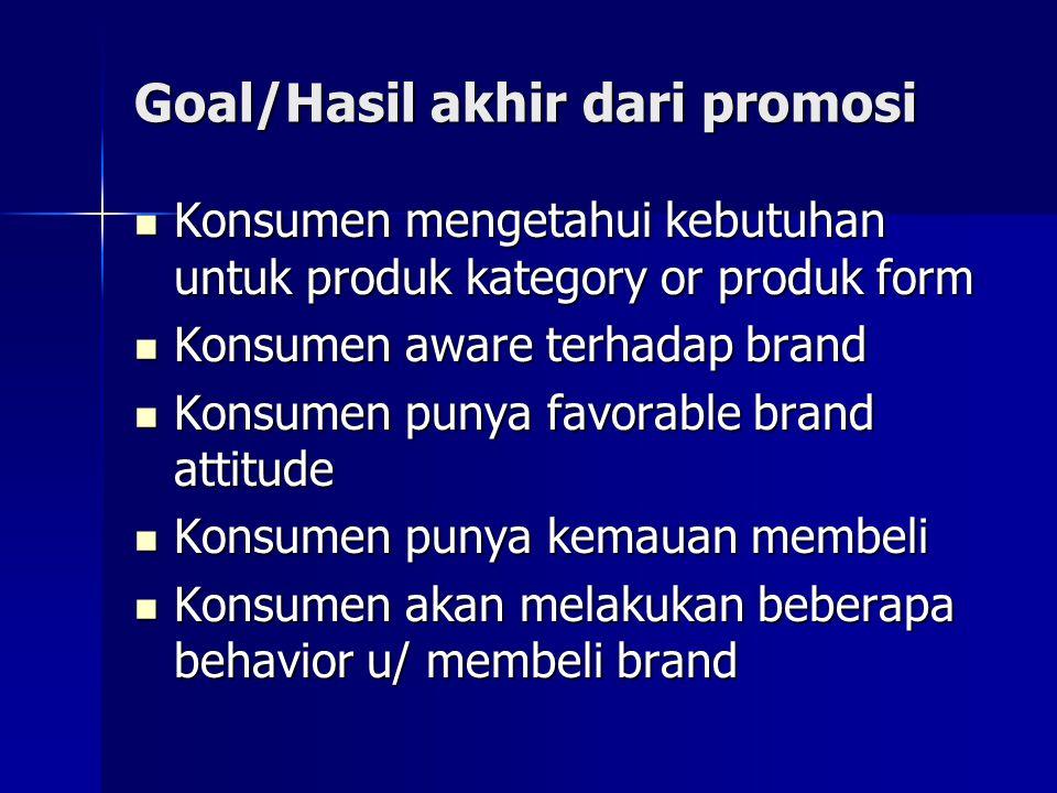 Goal/Hasil akhir dari promosi