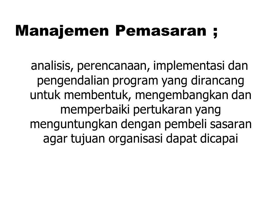 Manajemen Pemasaran ;