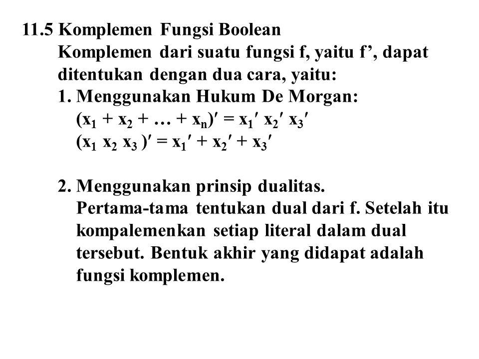 11.5 Komplemen Fungsi Boolean