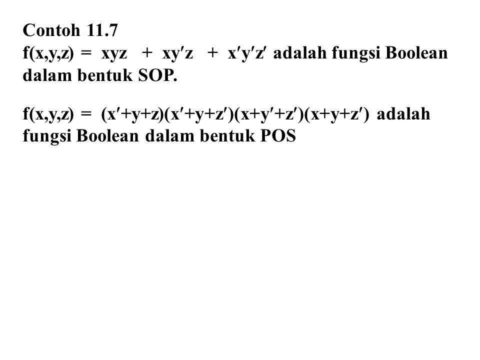 Contoh 11.7 f(x,y,z) = xyz + xyz + xyz adalah fungsi Boolean. dalam bentuk SOP. f(x,y,z) = (x+y+z)(x+y+z)(x+y+z)(x+y+z) adalah.