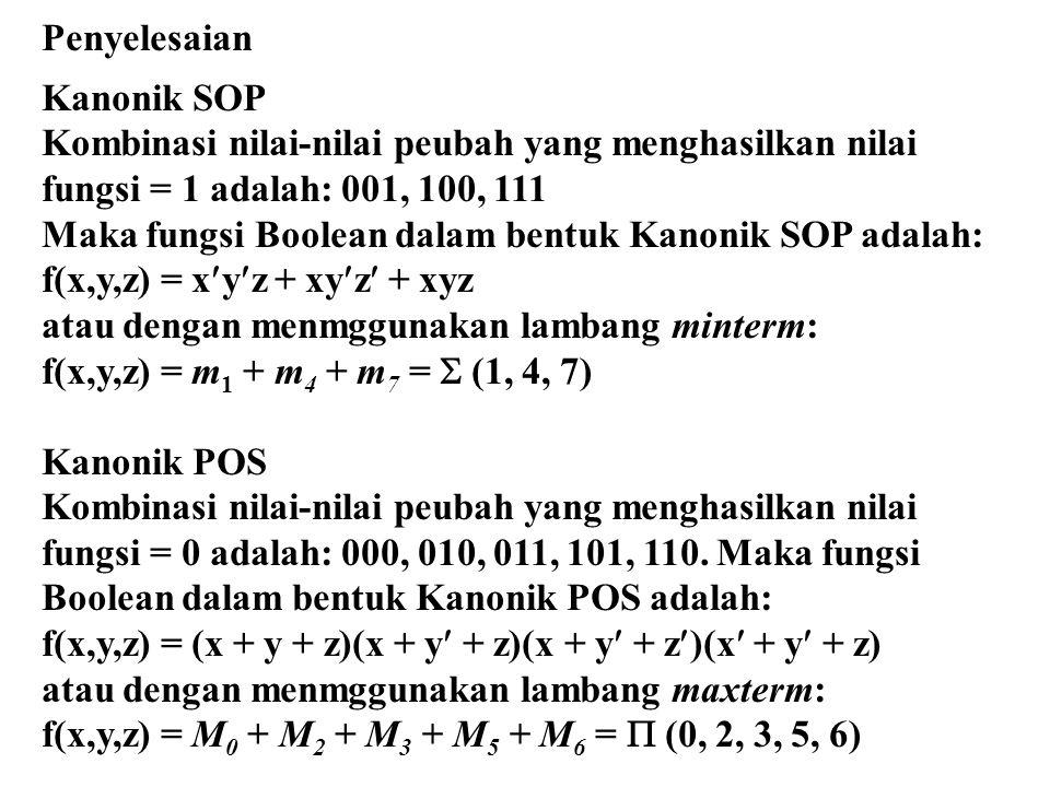 Penyelesaian Kanonik SOP. Kombinasi nilai-nilai peubah yang menghasilkan nilai fungsi = 1 adalah: 001, 100, 111.