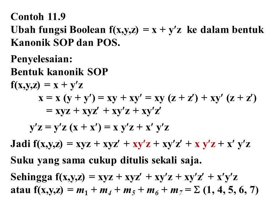 Contoh 11.9 Ubah fungsi Boolean f(x,y,z) = x + yz ke dalam bentuk Kanonik SOP dan POS. Penyelesaian: