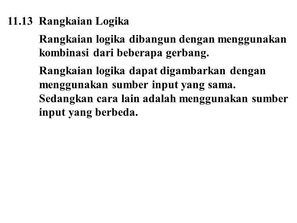 11.13 Rangkaian Logika Rangkaian logika dibangun dengan menggunakan kombinasi dari beberapa gerbang.