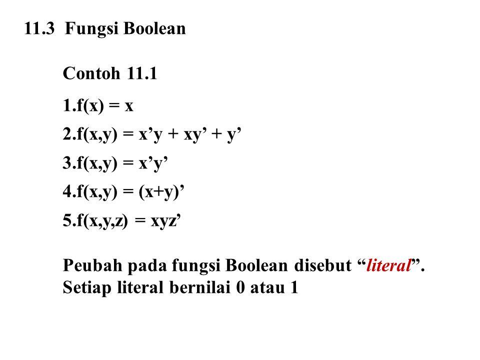 11.3 Fungsi Boolean Contoh 11.1. f(x) = x. f(x,y) = x'y + xy' + y' f(x,y) = x'y' f(x,y) = (x+y)'