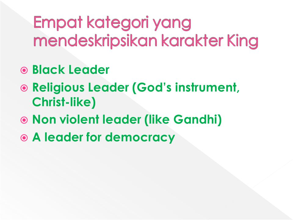 Empat kategori yang mendeskripsikan karakter King