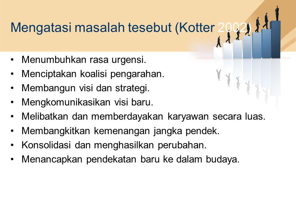 Mengatasi masalah tesebut (Kotter 2002)