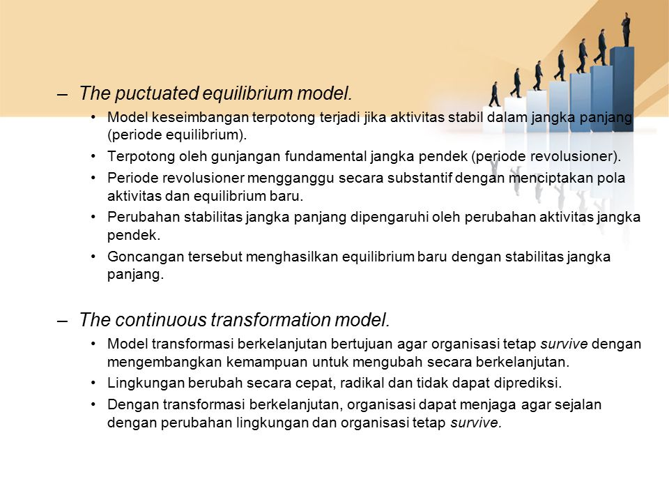 The puctuated equilibrium model.