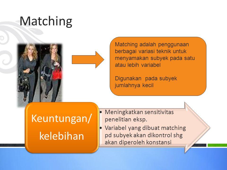 Matching Matching adalah penggunaan berbagai variasi teknik untuk menyamakan subyek pada satu atau lebih variabel.
