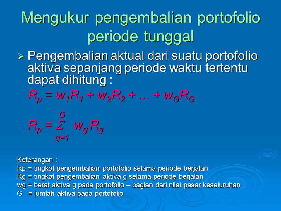 Mengukur pengembalian portofolio periode tunggal