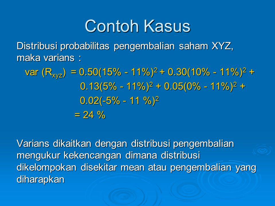 Contoh Kasus Distribusi probabilitas pengembalian saham XYZ, maka varians : var (Rxyz) = 0.50(15% - 11%)2 + 0.30(10% - 11%)2 +