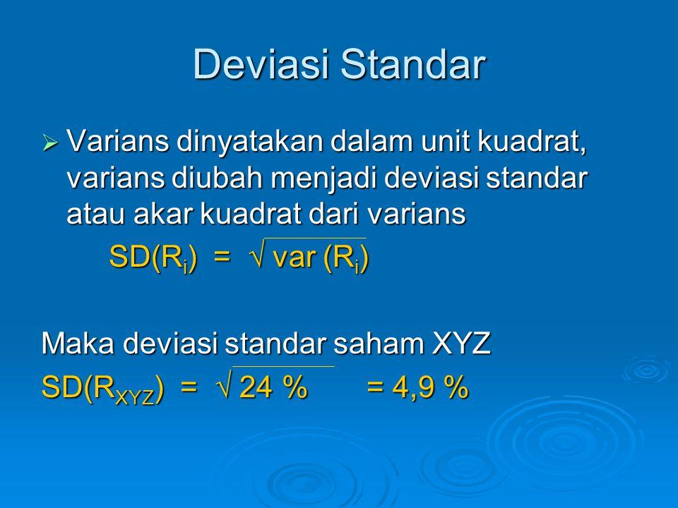 Deviasi Standar Varians dinyatakan dalam unit kuadrat, varians diubah menjadi deviasi standar atau akar kuadrat dari varians.