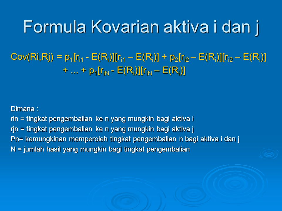Formula Kovarian aktiva i dan j