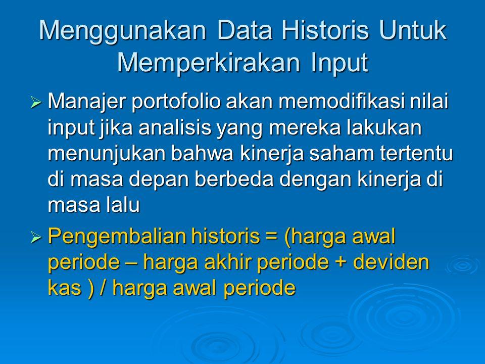 Menggunakan Data Historis Untuk Memperkirakan Input