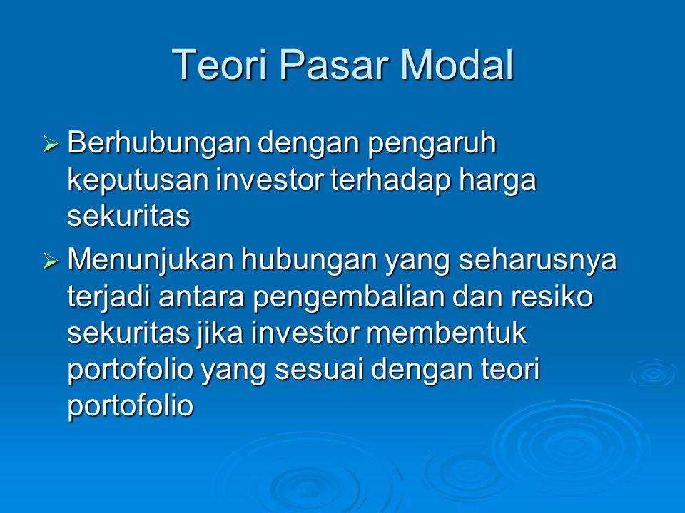 Teori Pasar Modal Berhubungan dengan pengaruh keputusan investor terhadap harga sekuritas.
