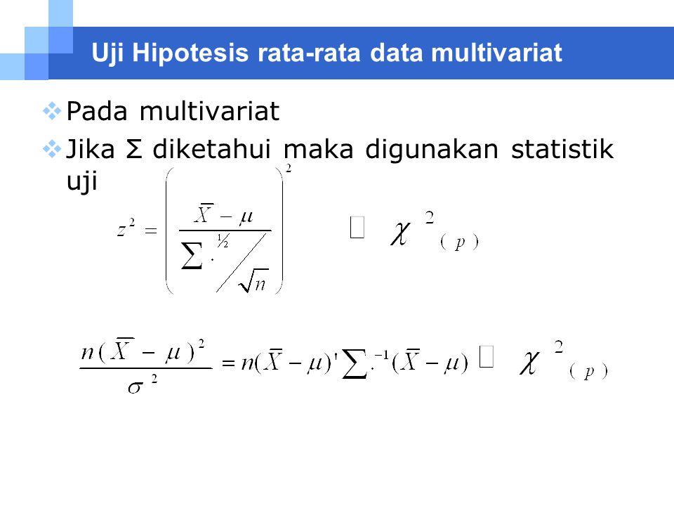Uji Hipotesis rata-rata data multivariat