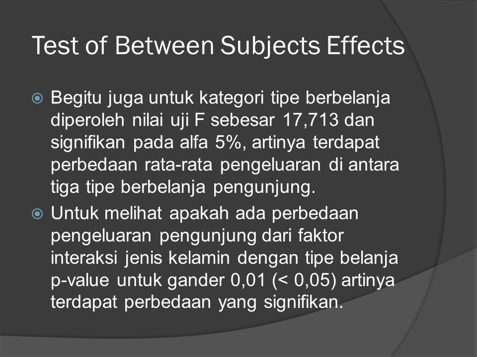 Test of Between Subjects Effects