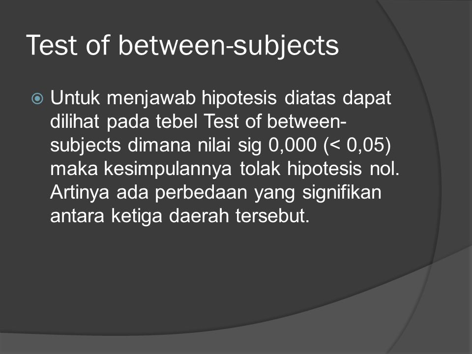 Test of between-subjects