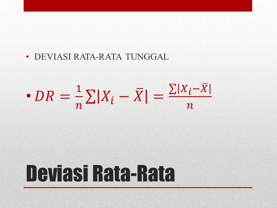 Deviasi Rata-Rata 𝐷𝑅= 1 𝑛 𝑋 𝑖 − 𝑋 = 𝑋 𝑖 − 𝑋 𝑛