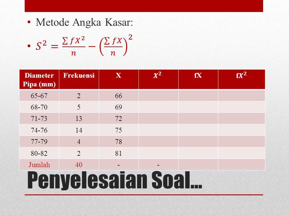 Penyelesaian Soal... Metode Angka Kasar: 𝑆 2 = 𝑓 𝑋 2 𝑛 − 𝑓𝑋 𝑛 2