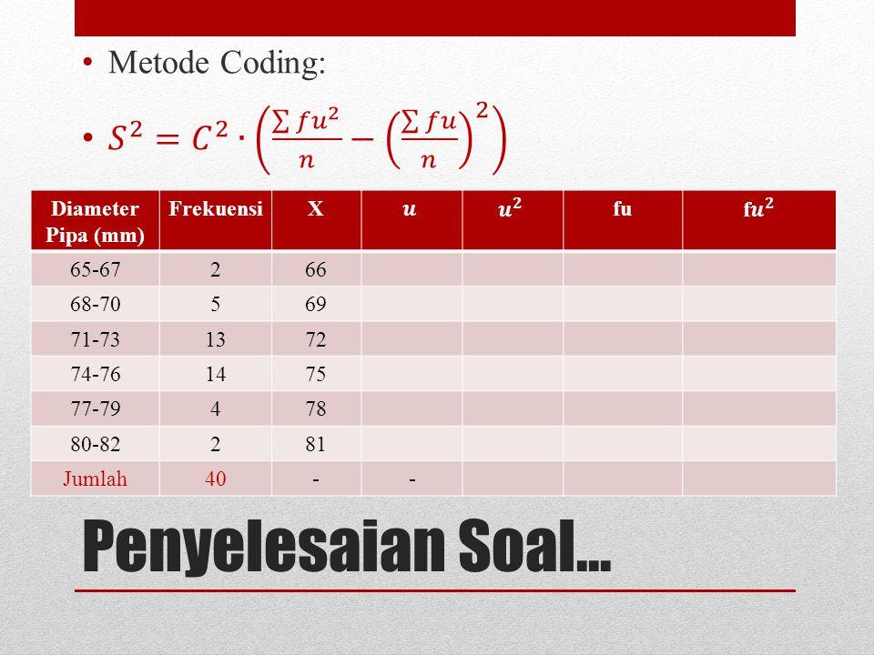 Penyelesaian Soal... 𝑆 2 = 𝐶 2 ∙ 𝑓𝑢 2 𝑛 − 𝑓𝑢 𝑛 2 Metode Coding: