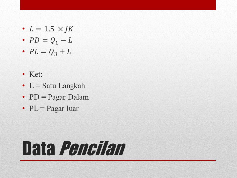 Data Pencilan 𝐿=1,5 ×𝐽𝐾 𝑃𝐷= 𝑄 1 −𝐿 𝑃𝐿= 𝑄 3 +𝐿 Ket: L = Satu Langkah