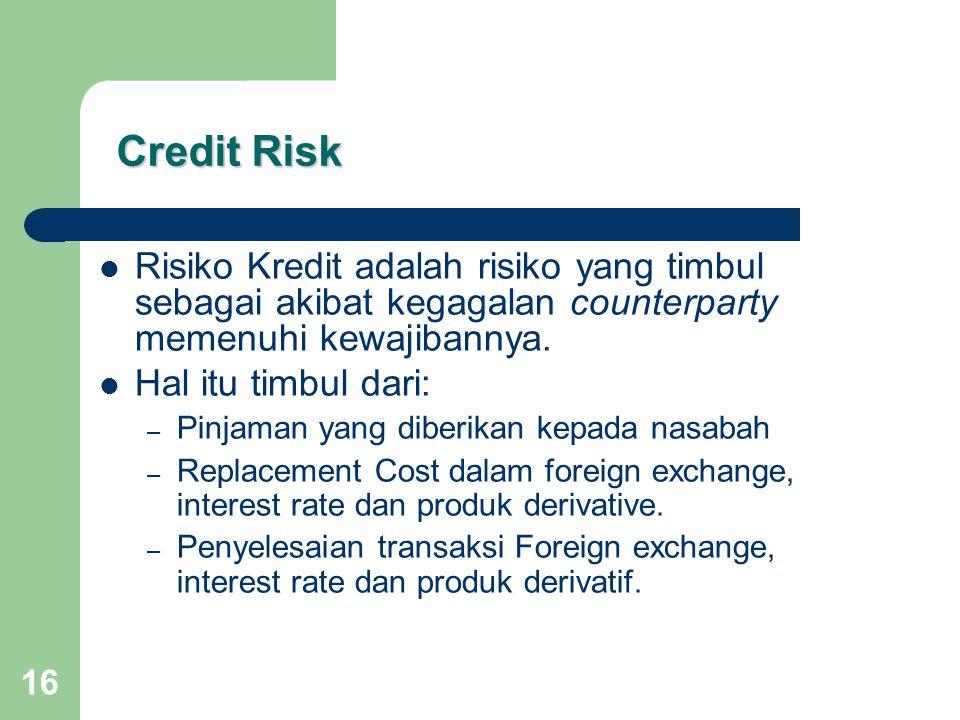 Credit Risk Risiko Kredit adalah risiko yang timbul sebagai akibat kegagalan counterparty memenuhi kewajibannya.