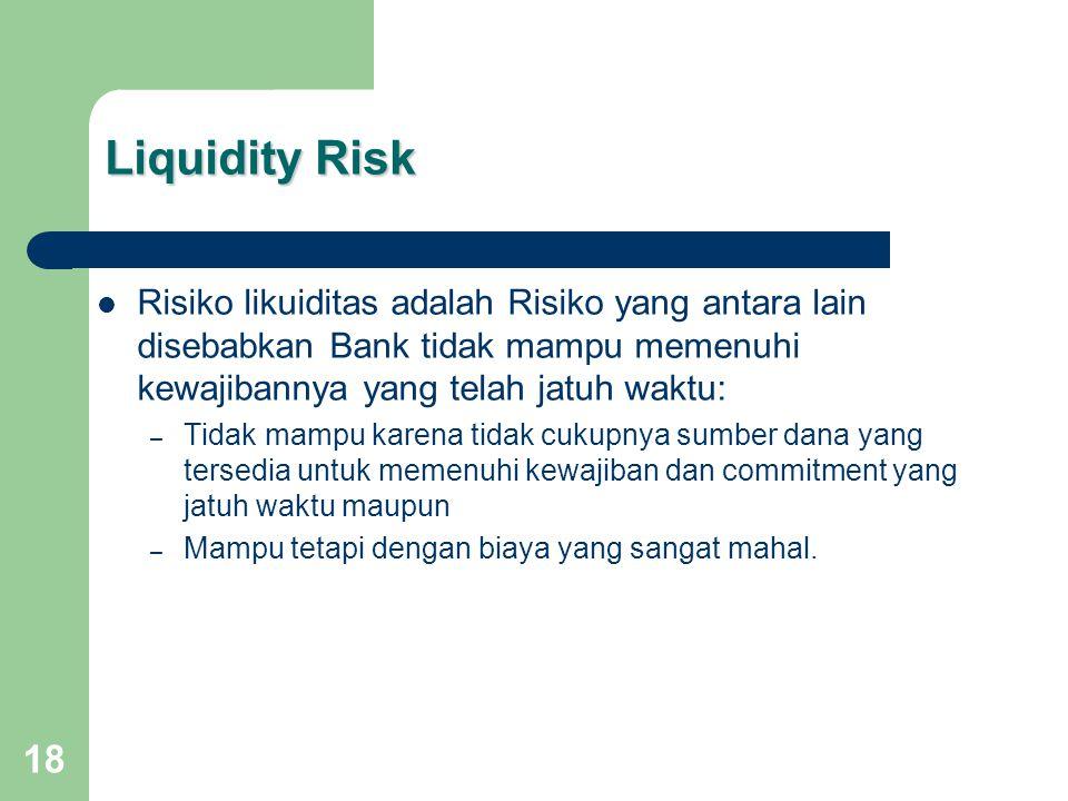 Liquidity Risk Risiko likuiditas adalah Risiko yang antara lain disebabkan Bank tidak mampu memenuhi kewajibannya yang telah jatuh waktu: