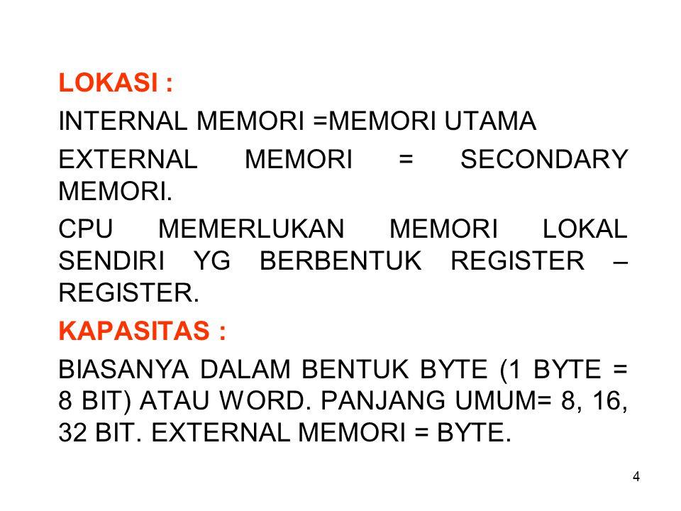 LOKASI : INTERNAL MEMORI =MEMORI UTAMA. EXTERNAL MEMORI = SECONDARY MEMORI. CPU MEMERLUKAN MEMORI LOKAL SENDIRI YG BERBENTUK REGISTER – REGISTER.