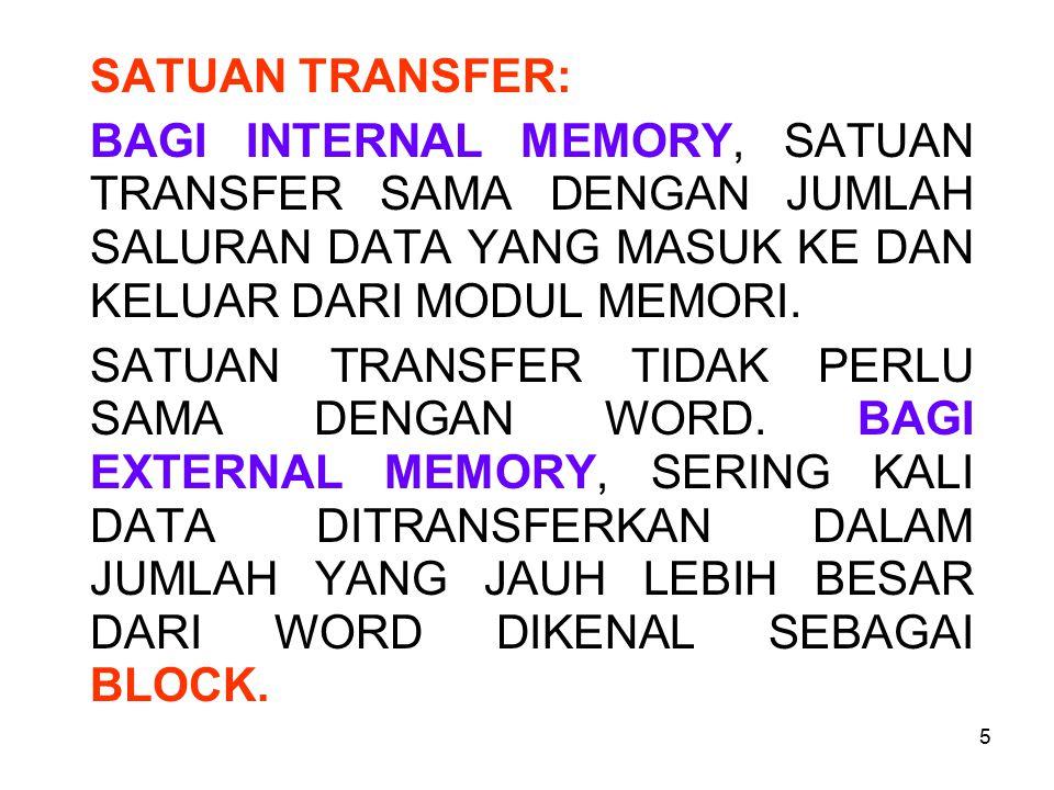 SATUAN TRANSFER: BAGI INTERNAL MEMORY, SATUAN TRANSFER SAMA DENGAN JUMLAH SALURAN DATA YANG MASUK KE DAN KELUAR DARI MODUL MEMORI.