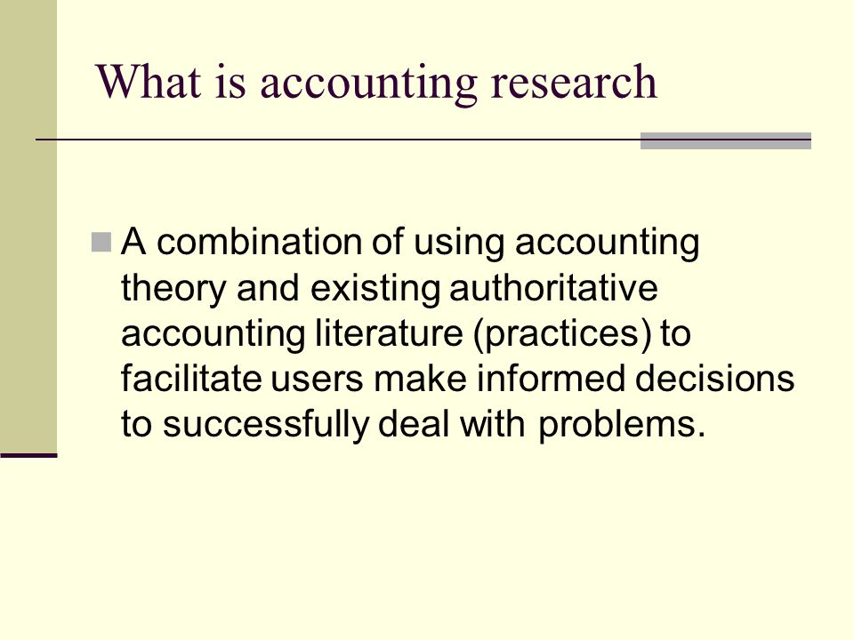 What is accounting research