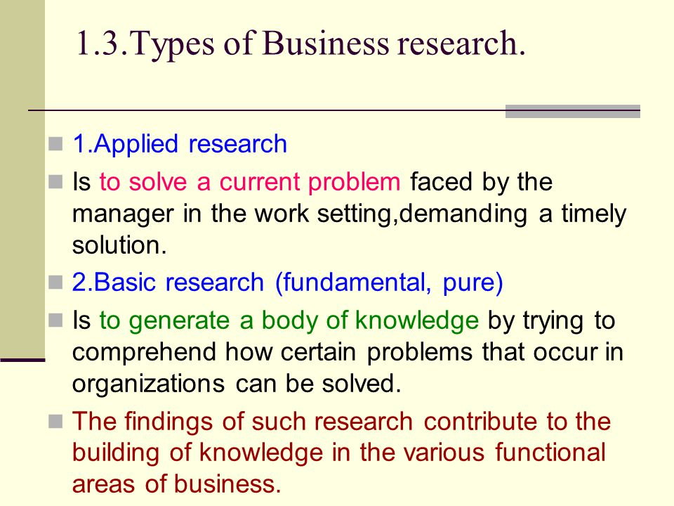 1.3.Types of Business research.