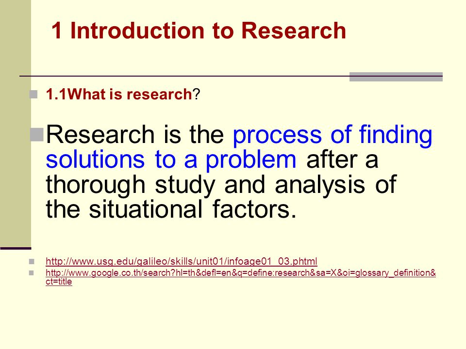 1 Introduction to Research