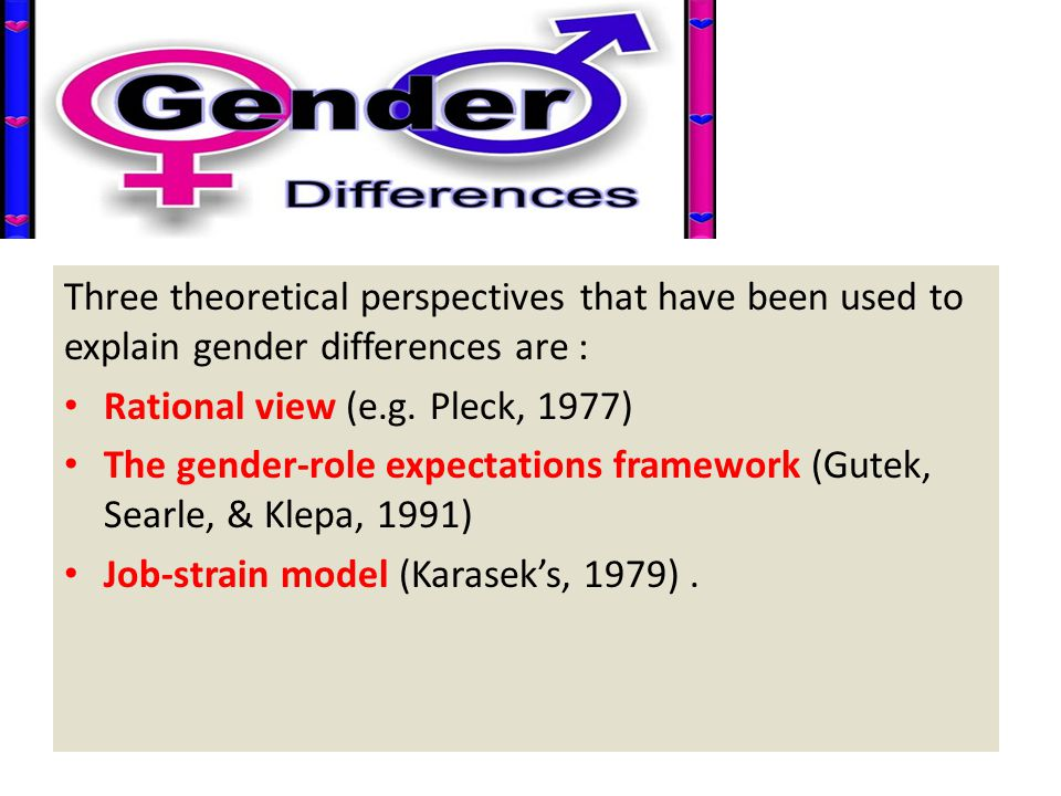 Three theoretical perspectives that have been used to explain gender differences are :