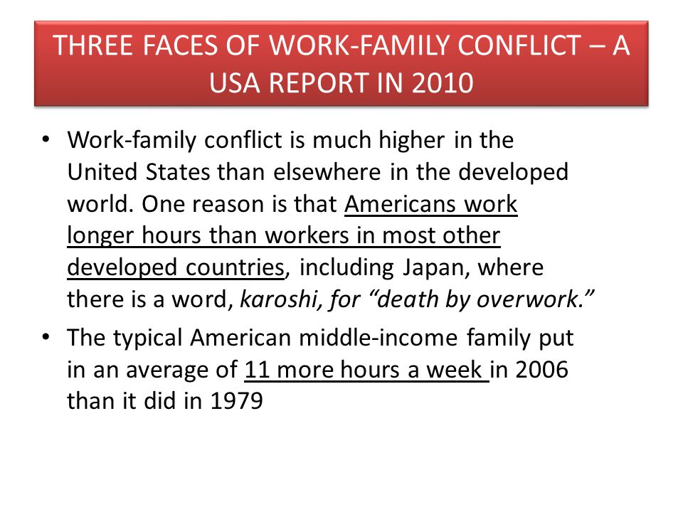 THREE FACES OF WORK-FAMILY CONFLICT – A USA REPORT IN 2010