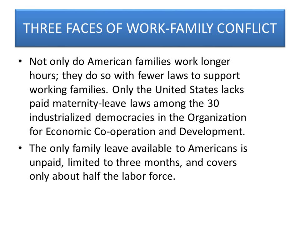 THREE FACES OF WORK-FAMILY CONFLICT