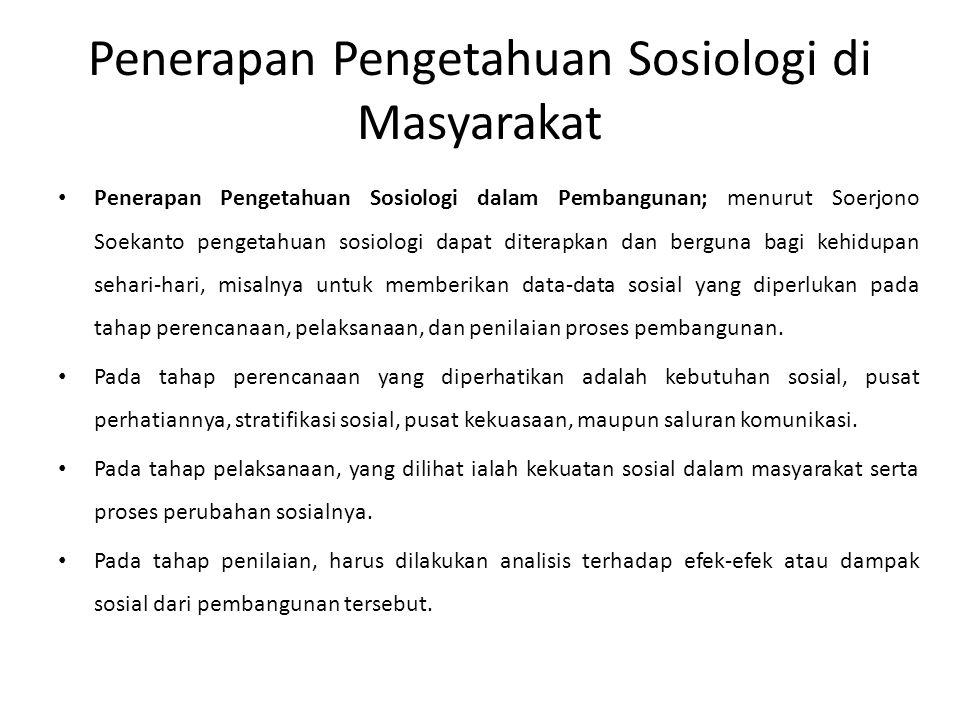 Penerapan Pengetahuan Sosiologi di Masyarakat