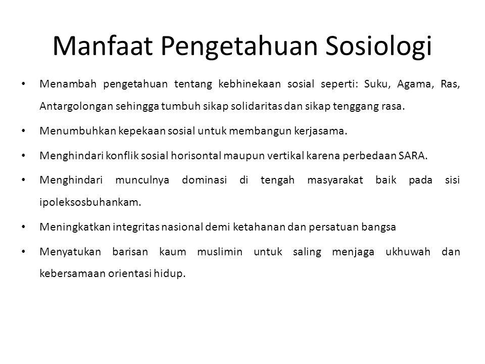Manfaat Pengetahuan Sosiologi