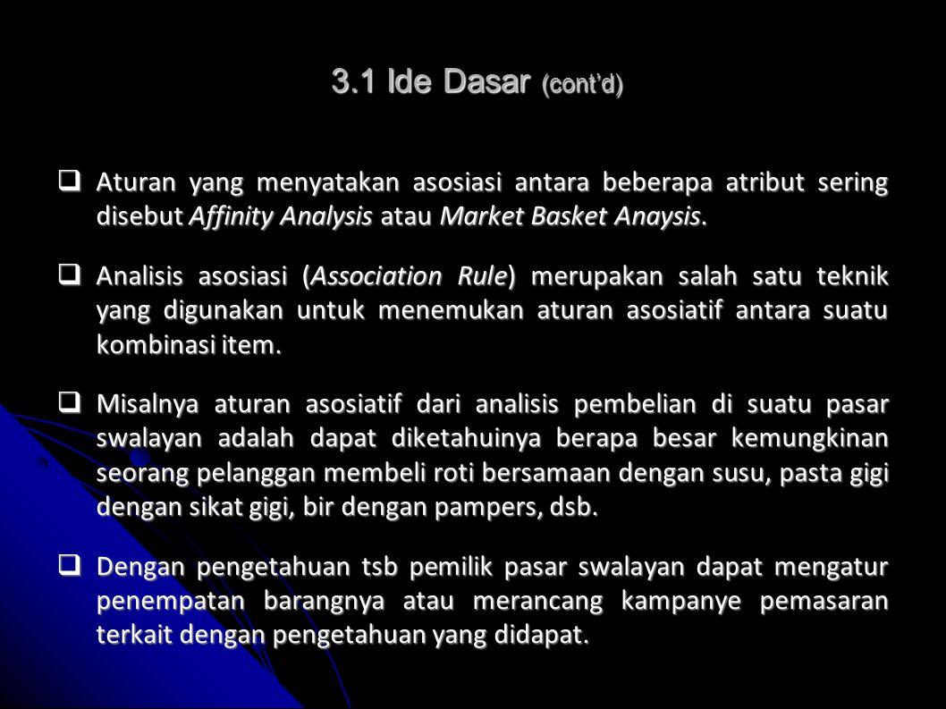3.1 Ide Dasar (cont'd) Aturan yang menyatakan asosiasi antara beberapa atribut sering disebut Affinity Analysis atau Market Basket Anaysis.