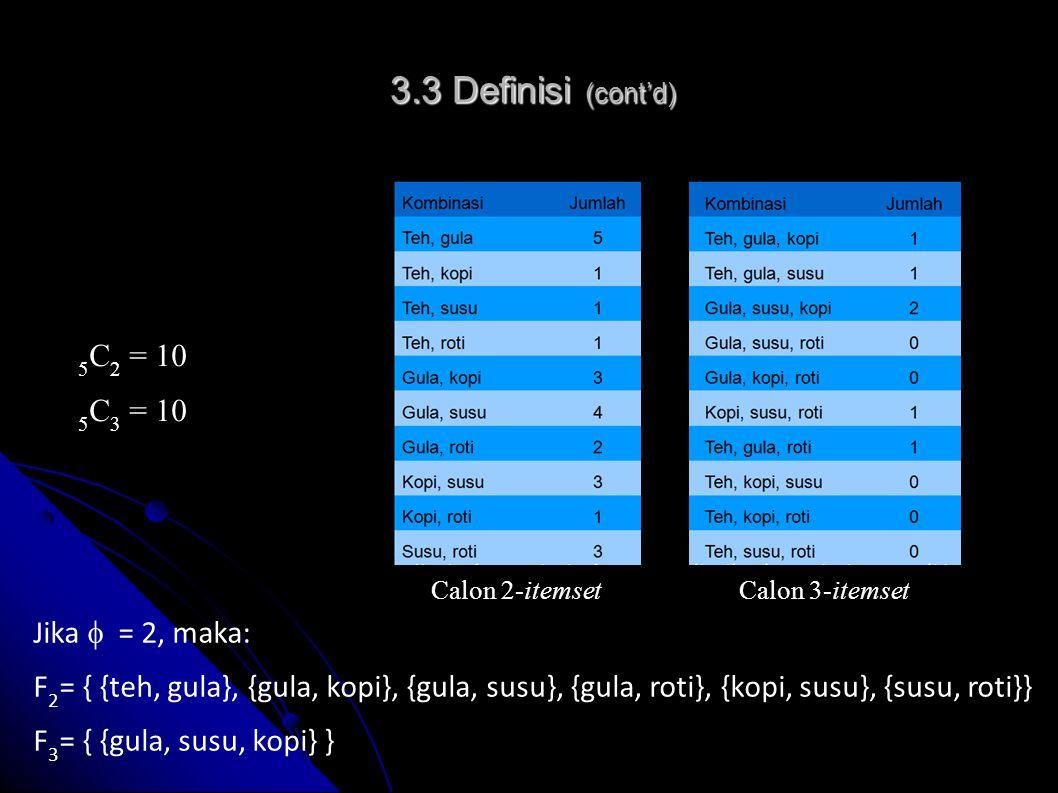 3.3 Definisi (cont'd) 5C2 = 10 5C3 = 10 Jika  = 2, maka: