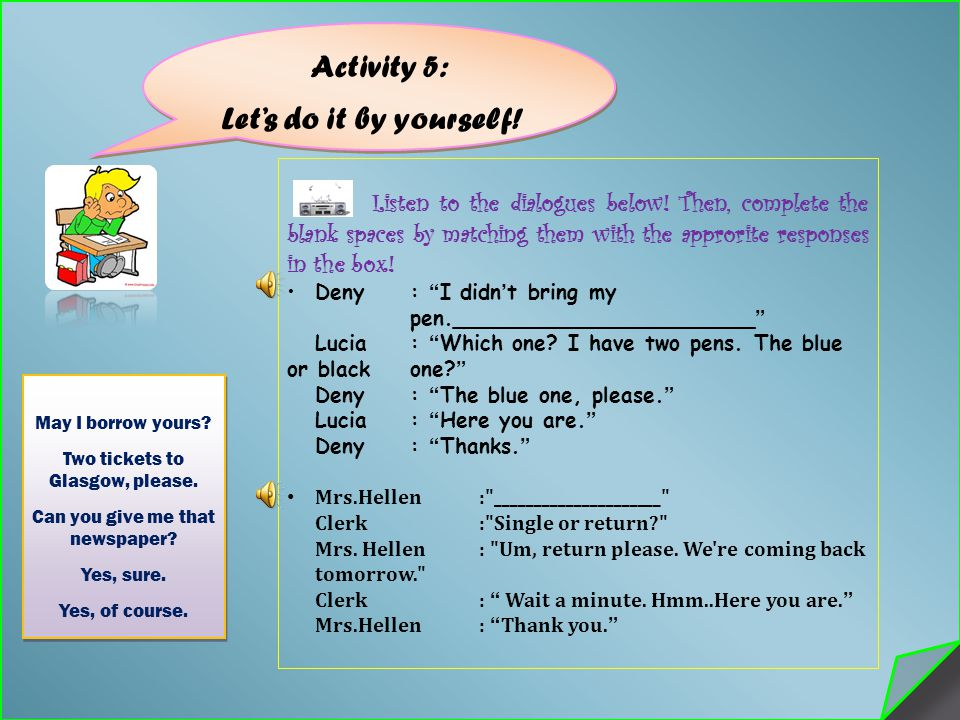 Activity 5: Let's do it by yourself!