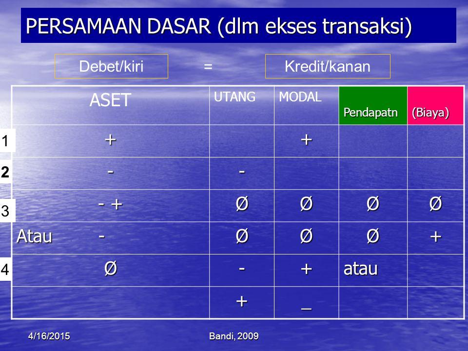 PERSAMAAN DASAR (dlm ekses transaksi)