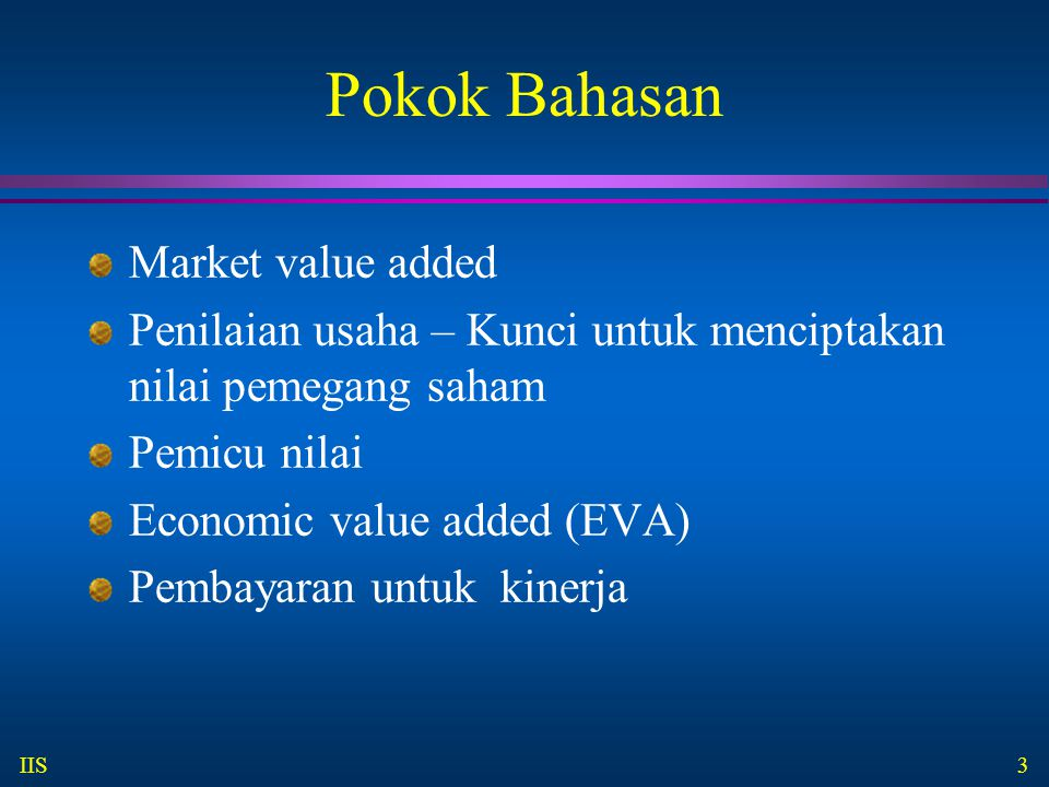 Pokok Bahasan Market value added