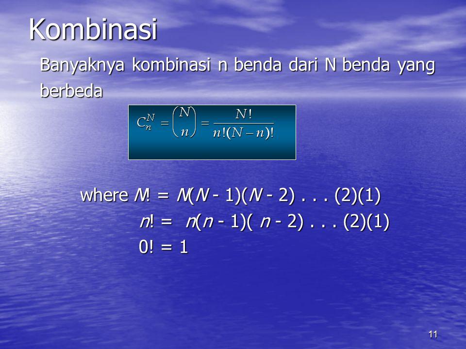 Kombinasi Banyaknya kombinasi n benda dari N benda yang berbeda