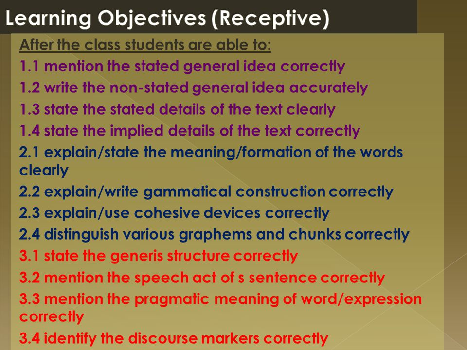 Learning Objectives (Receptive)