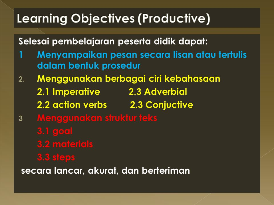 Learning Objectives (Productive)