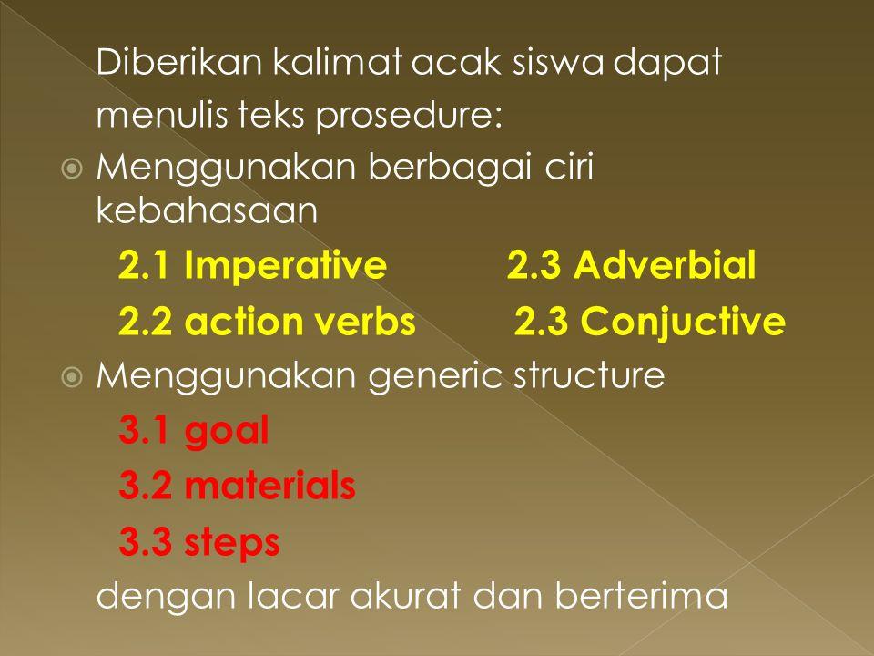 2.2 action verbs 2.3 Conjuctive