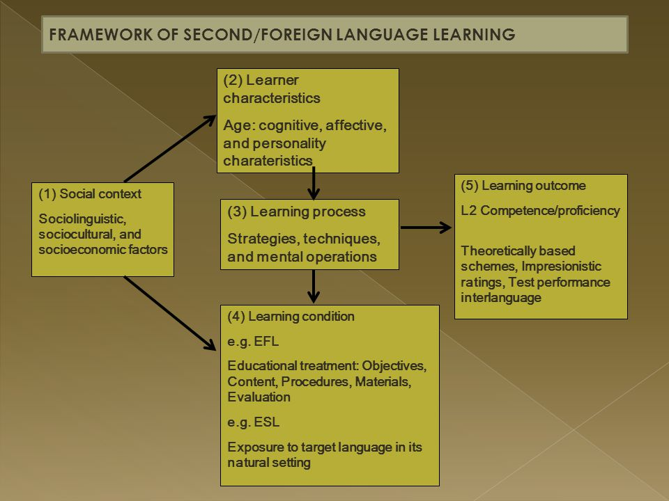 FRAMEWORK OF SECOND/FOREIGN LANGUAGE LEARNING
