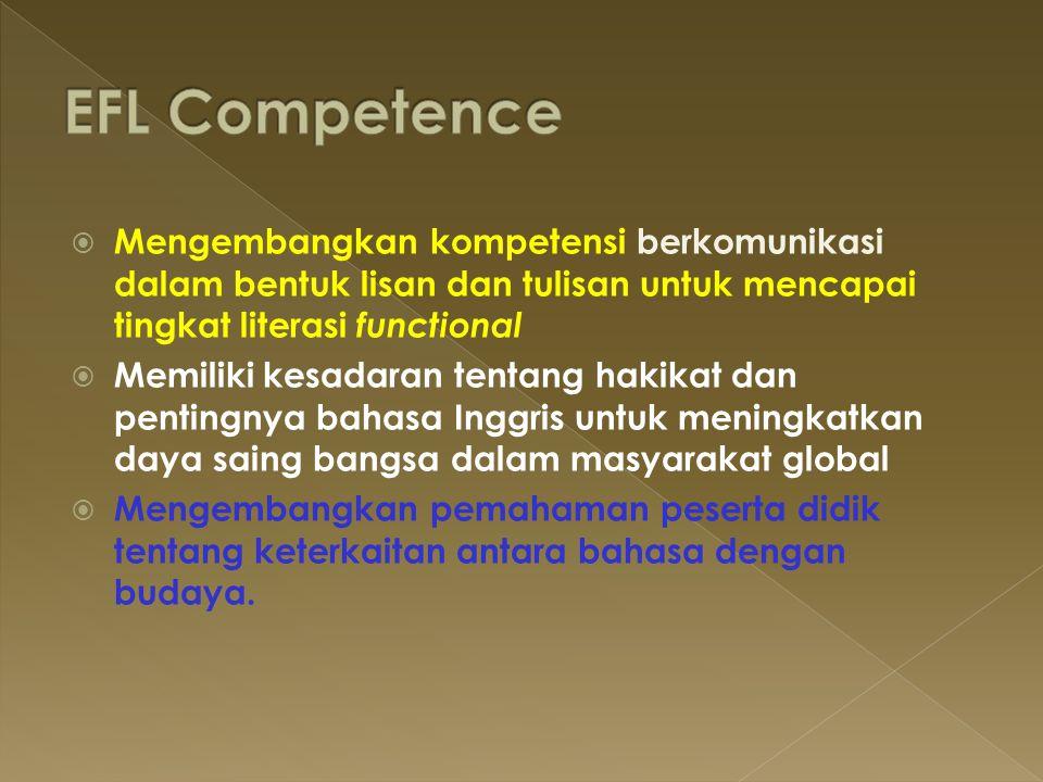 EFL Competence Mengembangkan kompetensi berkomunikasi dalam bentuk lisan dan tulisan untuk mencapai tingkat literasi functional.