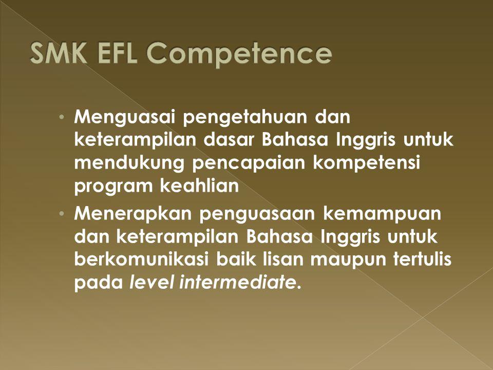SMK EFL Competence Menguasai pengetahuan dan keterampilan dasar Bahasa Inggris untuk mendukung pencapaian kompetensi program keahlian.