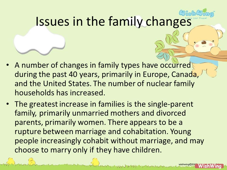 Issues in the family changes